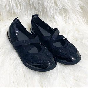 Girls black with sparkles slip on shoes